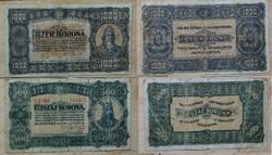 1000 , 500 korona 1923 hajtott használt fix 4500.-Ft + posta