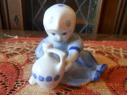 Zsolnay korsós kislány, kék Annuska