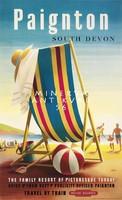 Nyaralás, strand, tengerpart, csíkos napágy, labda, utazási reklám 1956 Vintage/antik plakát reprint