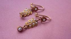 Egyedi antik 14k-os arany szecessziós fülbevaló apró gyöngyökkel