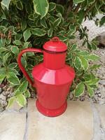 Gyönyörű 2 literes piros Jászkiséri zománcos  Ceglédi kanna, nosztalgia darab, paraszti dekoráció