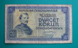 Csehszlovákia, 20 korun bankjegy (DN) - 1945