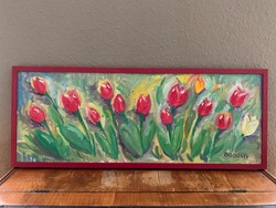 2 db tulipános olaj festmény eladó 30x80-as