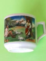 Ritka Kolozsvári Zsolnay népi jelenetes régi kávéscsésze gyűjteménybe 126.