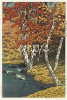 Régi japán fametszet - tájkép, színes őszi erdő, tópart, fák 1933 Kitűnő minőségű reprint nyomat