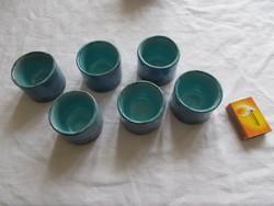 Kávé / rövid ital  - Retro kerámia készlet - kék mázas porcelán - hibátlan
