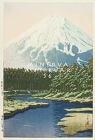 Régi japán fametszet - tájkép Fudzsi hegy folyópart erdő rét 1942 Kitűnő minőségű reprint nyomat