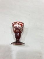Régi bordó kristály likörös pohár
