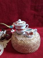 Zsolnay kávés csésze tetővel és Zsolnay tejszínes kiöntő