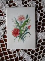 Rendkivüli kézzel festett porcelán festmény GYÖNGYVIRÁG