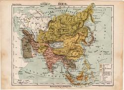 Ázsia térkép 1885, Magyar Lexikon, Rautmann Frigyes, Arábia, Hindustan, Mongol föld, Tibet, Siam