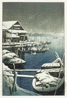 Régi japán fametszet - hóesés téli tájkép kikötő csónak hajó tó 1931 Kitűnő minőségű reprint nyomat