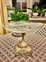Szecessziós ezüst asztal közép/ kínáló tál