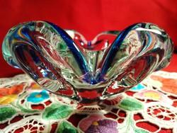 No2 Mesés művészi fújt üveg BOHEMIA kínáló tál asztalközép 11x5,5 cm
