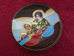 Japán porcelán kézzel festett kistányér, átmérője 9,5 cm.