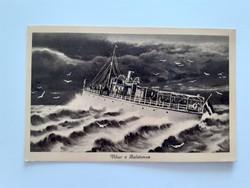 Régi hajós képeslap 1942 vihar a Balatonon