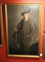 Vadász puskával és zsákmánnyal festmény olaj vászon jelzett