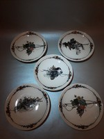 Antik Sarreguemines obernai Henri Loux Francia kis tányér öt darab csészealj