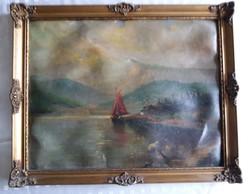 Vitorlás a vizen festmény