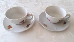 Régi Zsolnay porcelán virágos barokk kávés csésze 2 db
