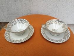 Teás csésze 2db Art deco finom vékony porcelán, Bavaria, elefánt csont szinű porcelán!