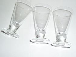 Régi üveg likőr pohár ( 3 db.)