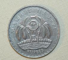 5 Rúpia - Mauritius - 1991.