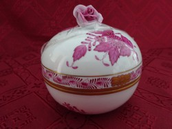 Herendi porcelán Apponyi mintás bonbonier, fogója rózsa minta. 6252/AP.