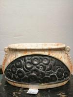 Art Deco.Kerámia  váza. Kézzel festve tégla barna színű máz, repesztetett hatas.. N-45