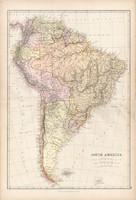 Dél - Amerika térkép 1882, eredeti, Blackie, atlasz, Brazília, Argentína, Bolívia, Chile, Horn - fok