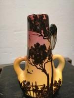 """L.Berty Francia kerámia váza """"Bogár """".Kézzel festett narancs sárga máz  Ritka. N-45"""