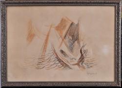 Egry József (1883-1951): Vitorlás a Balatonon, jelzett litográfia