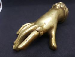 Antik Ékszerészbolt - Kirakati Gyűrűt Reklámozó Kézfej Rézből