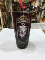 Régi bordó kristály váza
