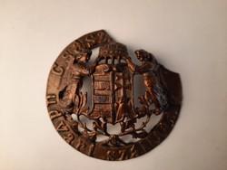 Császári Udvari Szállító koronás címeres öntött vas dísz