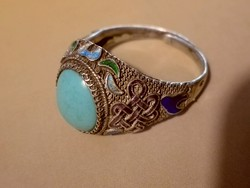 Régi ezüst filigrán, zománc, türkiz  - szabályozható méretű - csodaszép női gyűrű
