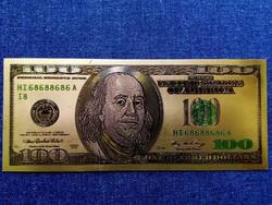 Gyönyörű arany színű plasztik dísz USA 100 dollár (id9703)