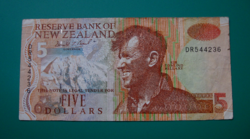 Új - Zéland - 5 dollár Bankjegy - 1997
