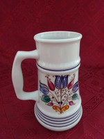 Alföldi porcelán sörös korsó, tulipán mintával, magassága 16,5 cm.