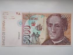 Spanyolország 5000 peseta 1992 UNC Ritka!
