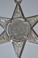 Brutális méretű ezüst medál, közepében holland ezüst 1 Guldennal