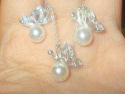 Pillangó Gyöngy 925 ezüst - Fehérarany Nyaklánc + Medál + Fülbevaló Ékszer szett