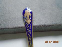 Kobaltkék Zománcos Elefántos címerrel díszített nyéllel régi Thaiföldi réz mokkás kanál