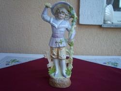 Ífjú hölgy kalapban, Antik porcelán szobor: Grafenthal Thuringia - 29,5cm.   1875.