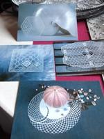 Képeslap gyűjtemény - művészi - selyemfestés, ólomüveg és csipke
