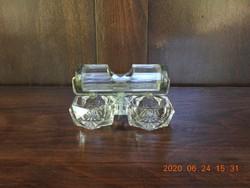 Antik csiszolt üveg (kristály) asztali fűszertartó, só- és borsszóró