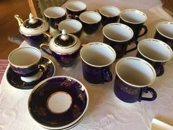Antik  orosz, szovjet, kobalt kék készlet, 6 személyes, és 6 teás, kakaós, kézi, (201)