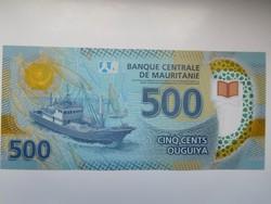 Mauritánia 500 ougulya 2017 UNC Polymer A 2 legnagyobb címlet!