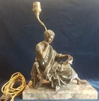Asztali lámpa bronz szoborral