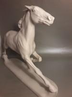 VINTAGE nagy méretű ROSENTHAL szignált porcelán vágtató ló szobor - sérült